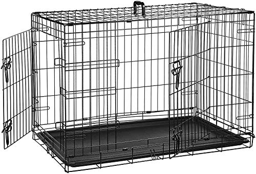 AmazonBasics - Jaula plegable de metal para mascota (dos puertas, 91 cm largo)