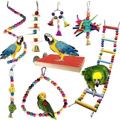PietyPet Juguetes para Pájaros, 8 Piezas Perchas Pájaros Juguetes con...