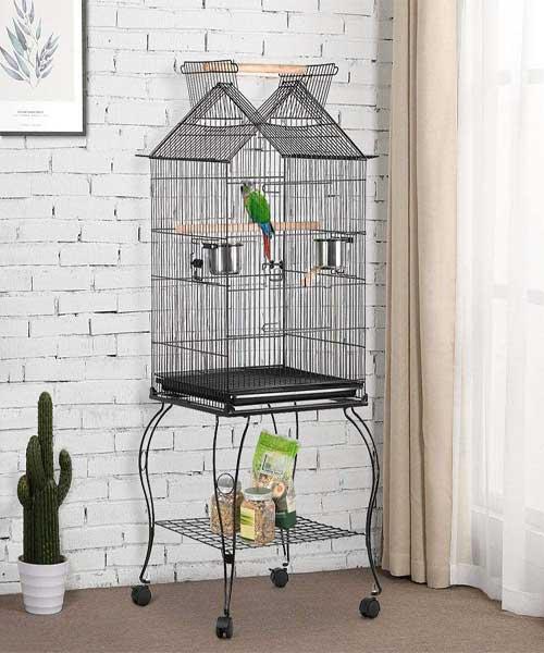 Características de la Yaheetech Jaula para Pájaros ninfas con Ruedas y Soporte Comedero 59 x 59 x 145 cm